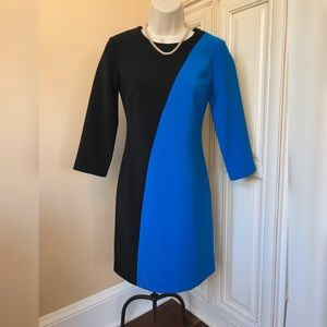Ann Taylor Blue & Black Color Block Sheath Dress 0